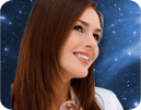 Smiling woman with space background