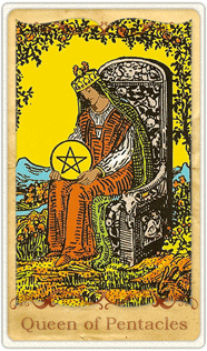 The Queen of Pentacles Tarot Card based on Rider-Waite