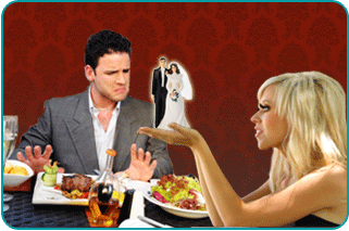 Couple on dinner date, man shoving himself away from table in disgust as woman focuses on their imagined marriage