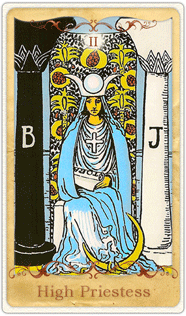 The High Priestess Tarot Card based on Rider-Waite