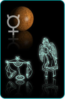 Illustrated constellations of Libra and Virgo with planet Mercury in background