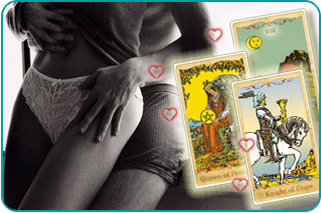 Scantily clad man holding scantily clad woman from behind, with three Minor Arcana tarot cards in foreground
