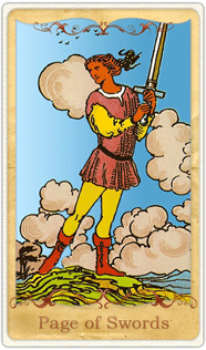 The Page of Swords Tarot Card based on Rider-Waite