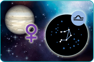 Illustrated constellation of Libra constellation over the planet Venus with symbol in background