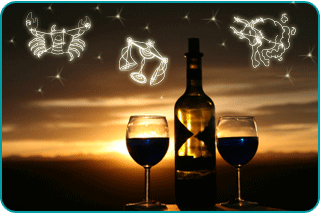 Bottle of wine and two wine glasses with sunset in background with illustrated constellations overhead