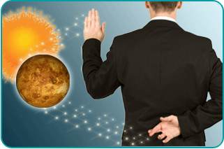 Planet Mercury overlaps the Sun next to Man with fingers crossed behind his back