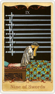 The 9 of Swords Tarot Card based on Rider-Waite