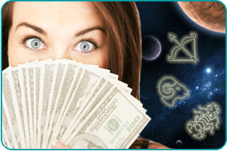 Surprised woman with money bills fanned out in front of her face and illustrated constellations in a space background behind her