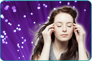 A psychic or empathic woman concentrating on her metaphysical gift over a mystical purple background