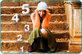 Happy woman sitting on steps, with 1, 2, 3, 4, 5 superimposed on steps