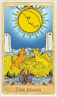The Moon Tarot Card based on Rider-Waite