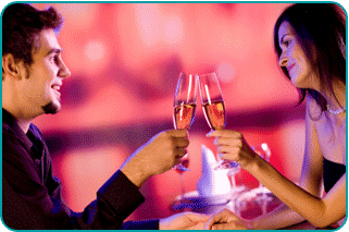 Happy couple toasting their future on New Year's Eve, wondering if they're soulmates