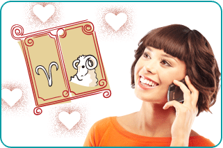 Asian woman on phone, calling her psychic for love advice with illustrations of the Capricorn sign and a goat