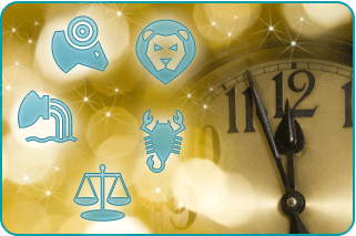Clockface about to strike midnight over a champagne background and several astrology signs in the foreground
