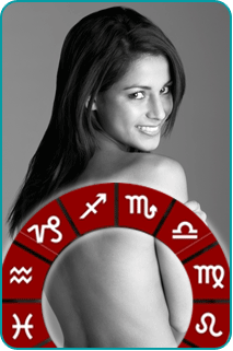 A woman looking over her bare back with a zodiac wheel in the foreground