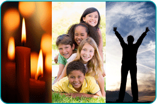 A collage of burning religious candles, a family with kids and a person standing in a field with their arms held high