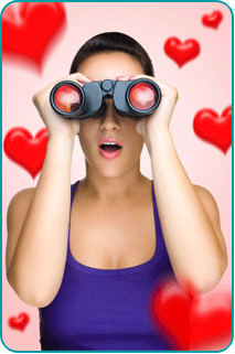A woman, surrounded by illustrated hearts, searching for love with binoculars