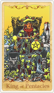 The King of Pentacles Tarot Card based on Rider-Waite