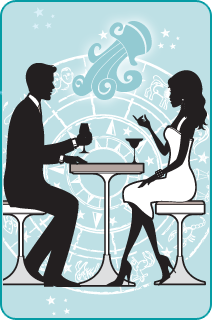 Black and white illustration of a couple sitting at dinner with the Aquarius water jug over a light blue background behind them