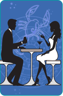 Black and white illustration of a couple sitting at dinner with the Scorpio Scorpion over a blue background behind them