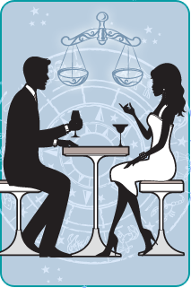 Black and white illustration of a couple sitting at dinner with the Libra Scales over a blue background behind them