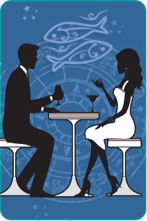 a couple having cocktails with the pisces symbol in the background