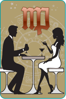 Black and white illustration of a couple sitting at dinner with the Virgo sign over a tan background behind them