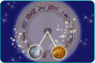 Planets Mars and Pluto connecting over a zodiac wheel