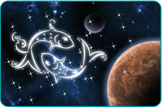 The Pisces symbol in a constellation with planets nearby