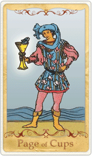 The Page of Cups Tarot Card based on Rider-Waite