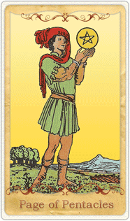 The Page of Pentacles Tarot Card based on Rider-Waite