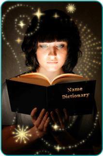 A woman reading a name dictionary, surrounded by mystical sparkles and swirls
