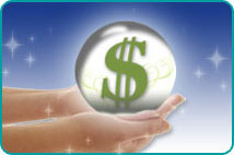 A woman's hands holding a crystal ball with a US dollar sign appearing within it