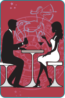Black and white illustration of a couple sitting at dinner with the Sagittarius Archer over a red background behind them