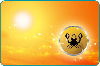 The sun in a hot summer sky with an illustration of Cancer's crab in the foreground