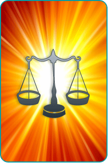 The Libra scales over an orange starburst