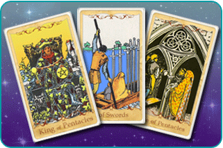 The King of Pentacles, 6 of Swords, 3 of Pentacles Tarot cards based on Rider-Waite
