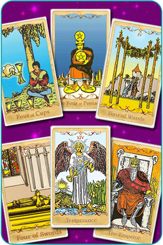 The 4 of Cups, 4 of Pentacles, 4 of Swords, 4 of Wands, The Emperor and Temperance Tarot cards, based on Rider-Waite