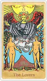 The Lovers Tarot Card based on Rider-Waite