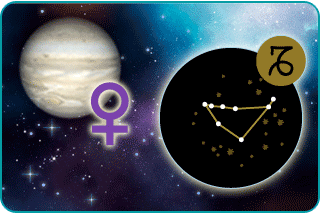 The planet Venus with astrological sign and illustrated constellation of Capricorn in the foreground