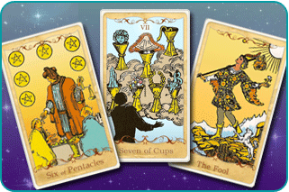 The 6 of Pentacles, 7 of Cups and The Fool Tarot cards based on Rider-Waite