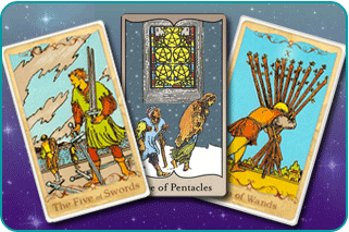 The 5 of Swords, 5 of Pentacles and 10 of Wands Tarot cards based on Rider-Waite