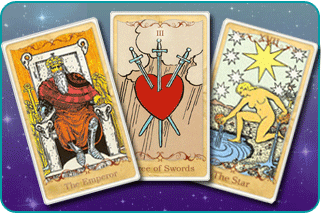 The Emperor, 3 of Swords and The Star Tarot cards based on Rider-Waite