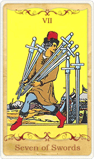 The 7 of Swords Tarot Card based on Rider-Waite