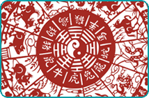 A red Chinese zodiac wheel