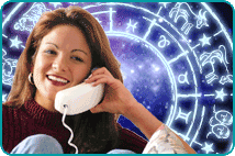 A psychic on the phone with an illustrated zodiac wheel over a nebula background behind her