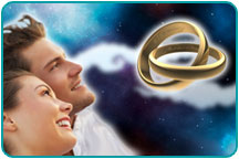 A loving couple looking optimistically at the night sky, with two intertwined gold wedding bands hovering before their eyes