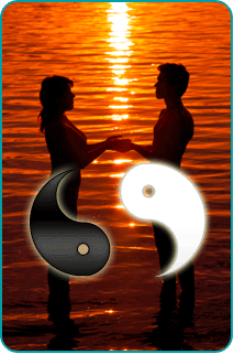 Silhouettes of a woman and man holding hands on a beach at sunset with yin and yang symbols over them