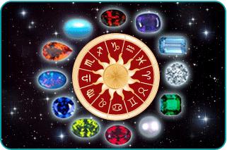 Zodiac birthstones encircling a zodiac wheel